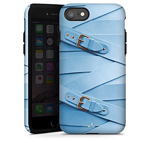 Apple iPhone X Silikon Hülle Case Schutzhülle Mode Leder Schnallen Tough Case glänzend