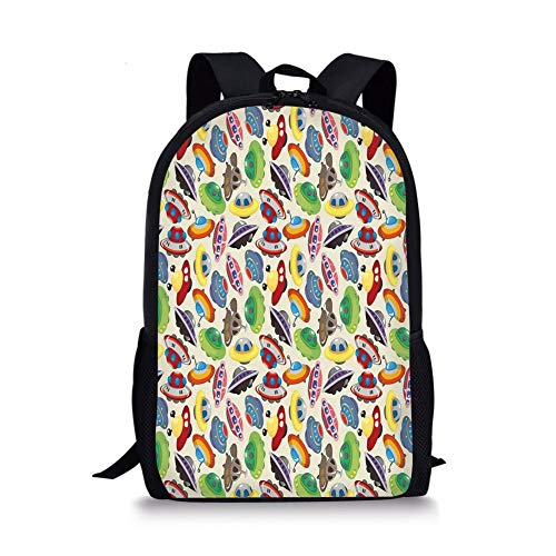School Bags Space,Cartoon Drawing of UFOs Travel Through Universe Journey Within The Cosmos Cute Crafts,Multicolor for Boys&Girls Mens Sport Daypack
