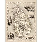 Doppelganger33 LTD Ceylon Sri Lanka Map Wall Large Canvas