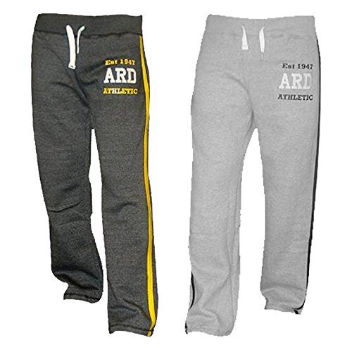 Men's Fleece Joggers Track Suit Bottom Jogging Exercise Fitness Boxing MMA Gym Sweat Fleece Trousers (Grey and Charcoal)