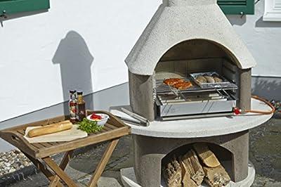 Buschbeck Grill Zubehör, Gas-Grilleinsatz für Gartengrillkamin, edelstahl, 34 x 53 x 10 cm, 90018.000