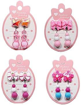4 accoppiamenti clip-on orecchini ragazza clip orecchini bambino clip orecchini per pretendere giocare regalo...