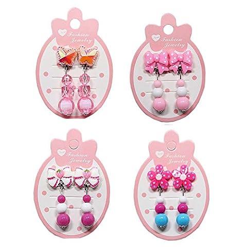 4 Paar Mädchen Clip-on Ohrringe Kind Anhänger Ohr Clips für Pretend Play Prinzessin Mädchen Geburtstagsgeschenk, # (Grün Harz Kreuz)