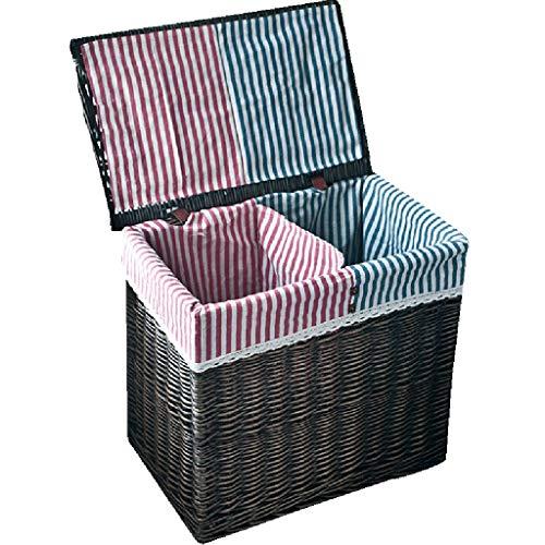 LF-Storage basket Rattan-Ablagekorb Aufbewahrungsbox Große Rattan Korb Korbwaren Aufbewahrungskorb mit Deckel Schmutzige Kleidung Wäschekorb Kapazität: 85L (Farbe : SCHWARZ)