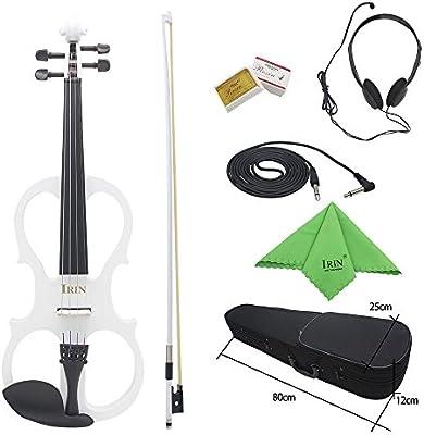 ammoon Violín Eléctrico de Madera de Arce de 4/4 Violín Instrumento de Cuerda con Ébano Accesorios Cable Auriculares Estuche para Principiantes de los Amantes de la Música