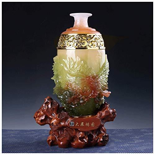 MTX Ltd Vase Jardiniere Künstliche Jade Hotel Bar Schreibtisch Schreibtisch Feng Shui Ornamente Home Haushalt Wohnzimmer Dekorationen Hochzeitsgeschenk Harz für Schlafzimmer Wohnzimmer Büro Studie - Jade-glas-schreibtisch