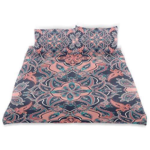 Vipsa Bettwäsche-Set, chinesisches Muster, 3-teilig, 100% Baumwolle, mit Reißverschluss, Bio-Modern Tröster Set Full/Queen