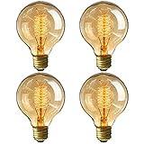 Edison Glühbirne E27 40W Vintage Globe Glühlampe,220V-240V Retro Dekorative Lampe dimmbar Filament Fadenlampe birne Ideal für Nostalgie und Retro Beleuchtung im Haus/Café/Bar/Restaurant - 4 Stück