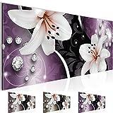 Bild 100 x 40 cm - Lilien Bilder- Vlies Leinwand - Deko für Wohnzimmer -Wandbild - XXL - leichtes Aufhängen- 801012c