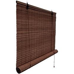 Persiana de bambú marrón oscuro, tamaño 60 x 160 cm