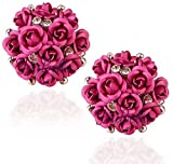 YouBella Fashion Jewellery Summer Special Stylish Rose Shape Fancy Party Wear Earrings for Girls and Women (Pink)