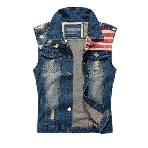 Jeans strappati vest uomini america bandiera blu jeans gilet cowboy senza maniche di jeans uomini camicia senza maniche m - 3xl,pa071