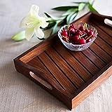#2: Azeem Arts Fancy Design Kitchen Ware Sheesam Wood In Engraved Wood Tray Size(LxBxH-13.9x9.0x2.2) Inch