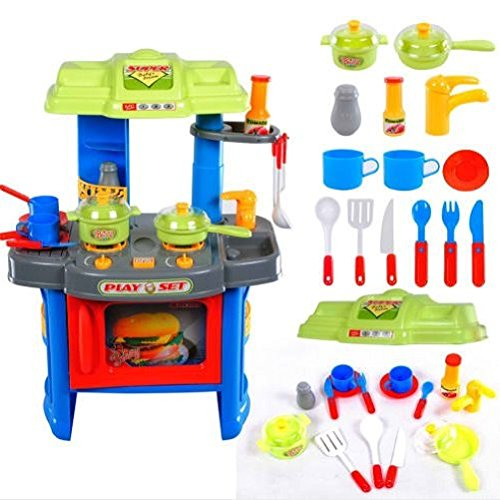 Great Gift For Kids ! 29pcs Electronic Kids Kitchen Cooking Role Play Toy Cooker Set / Toys Game Play Kids Childrens Child Toddler Baby Cool Activity Educational Creative Fun Special Unique Devlopment Developmental Friends Boys Girls Present Latest Newest