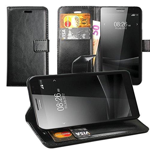 Original Lanboo® Wallet / Buch Tasche mit Magnetverschluss für Huawei Ascend Mate - Schwarz
