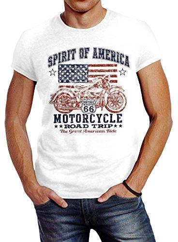 Neverless Herren T-Shirt, Biker Shirt, Amerika Flagge Motorrad Motorbike, aus Baumwolle Weiß L (Motorrad T-shirts Für Männer)