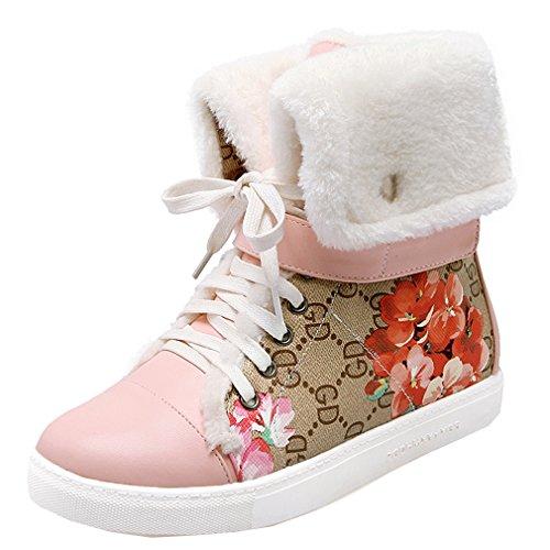 ENMAYER Femmes Synthétique Sweet Rencontres Toe Rond Rétro Impression Chaussures Flatform Avec Peluche Rose