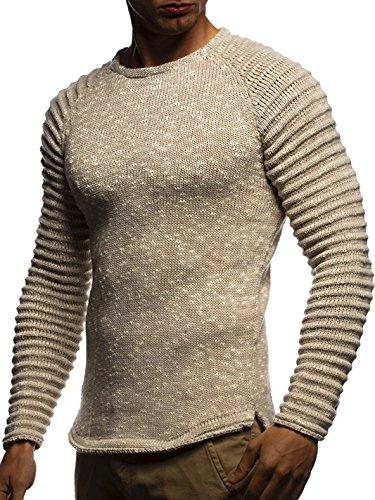 LEIF NELSON Herren Pullover Strickpullover Hoodie Basic Rundhals Crew Neck Sweatshirt langarm Sweater Feinstrick LN20728; Grš§e M, Beige