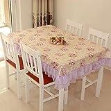 DXG&FX Pastoral Lace Tischdecke Stoff eckig rund Tischdecke klein Floral Tischdecke TV Reinigungstuch, a, 150x200cm(59x79inch)