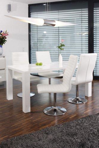 Esstisch-Gruppe Weiß Hochglanz 180x90 cm Recht-Eckig mit 6 Lio Kunst-Leder Stühlen | Luca | Essgruppe Weiss mit 6 Weißen Stühlen | Designer Tischgruppe mit ESS-Tisch Weiß Lackiert 180cm x 90cm 7 tlg.