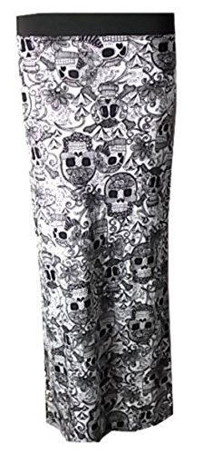 Flirty Wardrobe Jupe longue pour femme Noir imprimé Elasricated jupe + ceinture Taille 36–50 Noir - White Skull