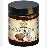 Kokosöl 100ml - Cocos Nucifera - Indonesien - Kaltgepresst - 100% Reines Kokosnussöl Glastiegel - Unraffiniert - Intensive Pflege für Gesicht - Körper - Haare - Haut - Körperpflege Öl von Aromatika