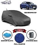 Fabtec Waterproof Car Body Cover for Maruti Swift Dzire 2018 with Mirror Antenna Pocket Storage Bag & Microfiber Glove Combo