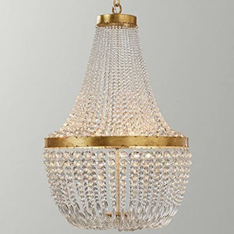 American country gold iron creative vintage Crystal ceiling pendant lamp bedroom living room dining room hallway decorated chandeliers , 3 head diameter 530mm height