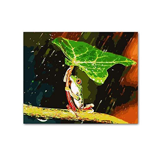 Pintura Digital,Hoja Paraguas Animal Rana Verde Bajo