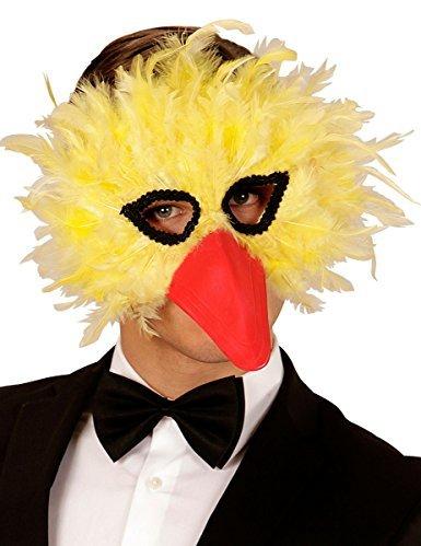 WIDMANN Maske Vogel Federn gelb Erwachsene