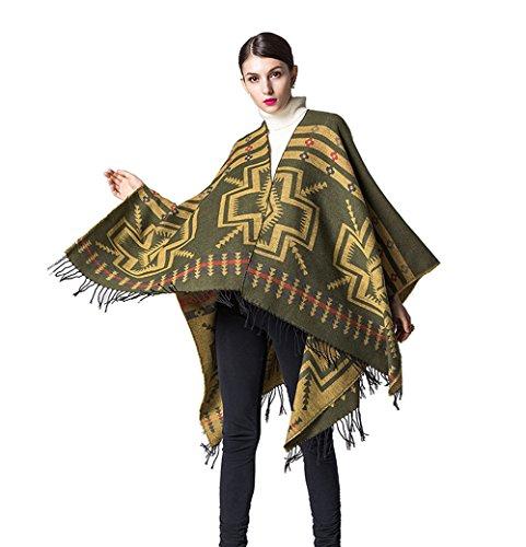 Châle pour Femme Fille en Laine Élégant Poncho Chaud et Ouvert à Grande Taille Châle Cape Epais pour Automne Hiver Femme couleur 17