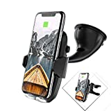 Auckly 2 in 1 KFZ Halterung, 10W Qi Wireless Fast Charger, Auto Handyhalterung für Apple iPhone X/8/8 Plus, Samsung Galaxy S9/S9 Plus/Note 8/S8/S8 Plus/S7/S7 Edge/S6 und alle Qi-fähigen Geräte