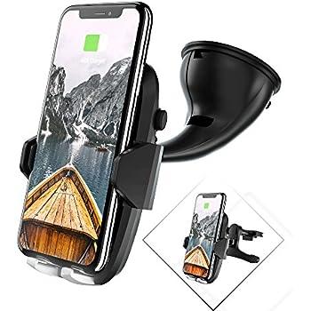 Chargeur sans fil rapide voiture, Auckly Qi Support Téléphone Voiture Chargeur sans fil à Induction Rapide avec Câble de Port Type C, Rotation à 360°pour iPhone X / 10 / 8 / 8 Plus, Samsung Galaxy S9 /S9+ / S8 /S8+ / S7 / S7 Edge / S6 / S6 Edge+/ Note 5, LG, Google Pixel/Pixel XL, Nexus 4/5/6/7, et tous les autres appareils Compatibles Qi- Noir