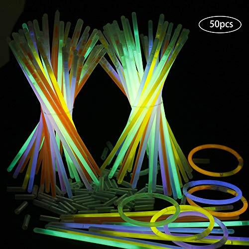 Goldge 100 Piezas: 50 Pulseras Luminosas Glow Pack y 50 Hebilla de Conexiónes Transparentes