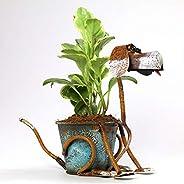 Paudhe Se Yaari Distressed Colorful Metal Dog Planter Pot (Rustic)