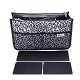 Periea Handtasche Organizer Taschen-Organisator - Chelsy Prämie - 3 Farben verfügbar - klein, mittel oder groß (Silberner Leopard, Klein)
