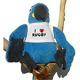 Loro azul de peluche con Amo Rugby en la camiseta (nombre de pila/apellido/apodo)