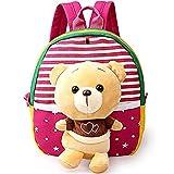 Baby Rucksack Krippe Comic Erste Tasche Schöne Kindergartentasche Vorschultasche Süß Spielzeug Plüschtier Kinder 1–3Jahre tolles Geschenk zum Geburtstag Ours Rose