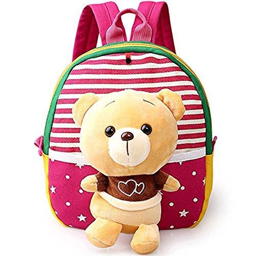 Windeln Krippe Taschen (Baby Rucksack Krippe Comic Erste Tasche Schöne Kindergartentasche Vorschultasche Süß Spielzeug Plüschtier Kinder 1–3Jahre tolles Geschenk zum Geburtstag Ours Rose)