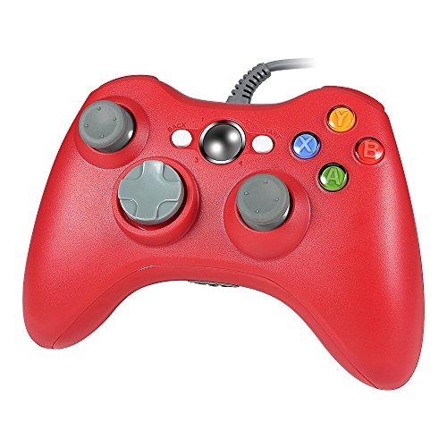 Wetoph Xbox 360 Controller, PC Controller, GD03 USB Gamepad mit Kopfhörer-Steckplatz Für Xbox360 und PC (Windows XP / 7/8/10) Rot …