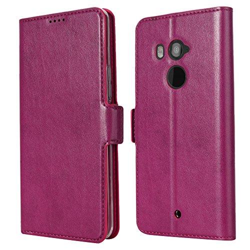 Eastcoo HTC U11 Plus PU Leder Tasche Flip Ledertasche Handyhülle kristallklarer TPU View Standfunktion Kartenfach Holder Magnetverschluß Doppelt geschichtet wallet Case Hülle für HTC U11 Plus (U11 Plus, Purple) (Htc 1 Telefon-abdeckung)