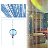 Vidillo Fadenvorhang, Fadenvorhang perlenvorhang, 100 x 200 cm Wandvorhang Schaufensterdekoration Mehrfarbig (Rosa,Rot,Grüner,Champagner) für hochzeit balkontür (Blau)