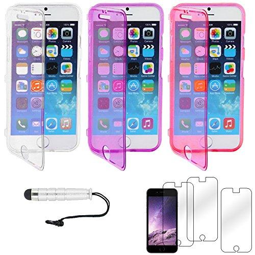 """ebestStar - pour Apple iPhone 6S 6 écran 4.7"""" - Lot x3 Housse Etui Coque Silicone Gel Portefeuille + Mini Stylet tactile + 3 Films protection écran, Couleur Transparent, Violet, Rose [Dimensions PRECI Transparent, Violet, Rose"""