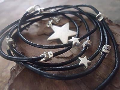 BLACK MILKY WAY gainé de cuir bracelet avec des étoiles