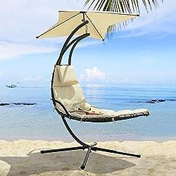 SoBuy® OGS39 Bain de Soleil, Hamac transat Suspendu, Lit Suspendu, Fauteuil, Balancelle de Jardin et Patio
