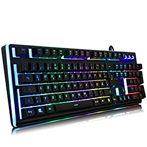 IVSO Semi Mechanische Gaming Tastatur LED Hintergrundbeleuchtung Beleuchtete USB Wired Gaming Tastatur mit 19 Anti Ghosting Key für Mac und Windows