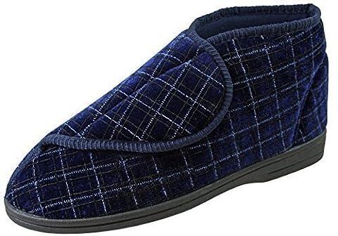 Footwear Studio Chaussons bottillons orthopédiques pour homme Fermeture avec Velcro Motif à carreaux Bleu marine