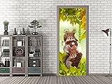 GRAZDesign Türfolie selbstklebend für Kindergarten - Klebefolie Tür Schule - Fototapete Tür Wald - Türtapete Herbst / 92x213cm / 791604_92x213