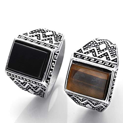 Epinki anello per uomo ragazzi titanio anello rettangolo anello sigillo anello uomo anello band con zirconi marrone taglia 17 accessori uomo