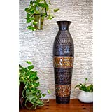 Malhar Handicraft Metal Flower Vase With Glass Decoration For Modern Home Decoration, Kitchen, Living Room, Drawing Room, And Gifting, 7.6 X 28.5 Inches - Amber